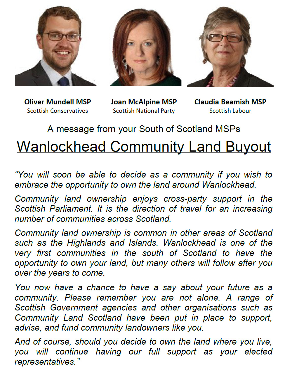 A letter from your local MSPs